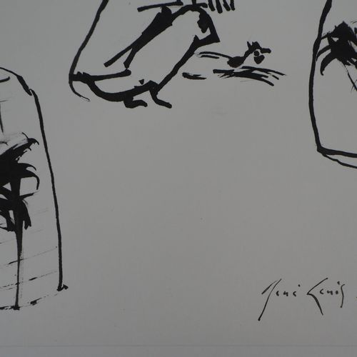 René GENIS René GENIS  Bali, Roosters in cages, 1975    India ink drawing on wov…