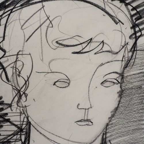 Max PAPART Max PAPART  Tribute to Madame Cézanne,1955    Original charcoal drawi…
