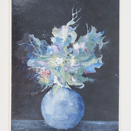 Lily Masson Lily MASSON  Blue vase and bouquet, 1986    Original Temperature  Si…