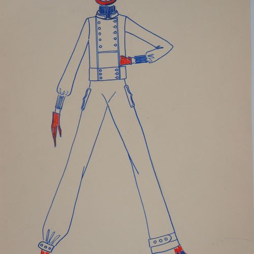 Serge PONS Serge PONS  Drawing for Yves Saint Laurent (YSL): Combination of the …