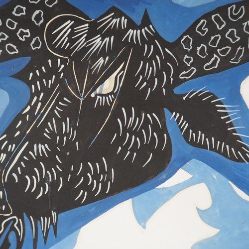 René GENIS René GENIS  Cow on blue background  Cow's head    Cows on blue backgr…
