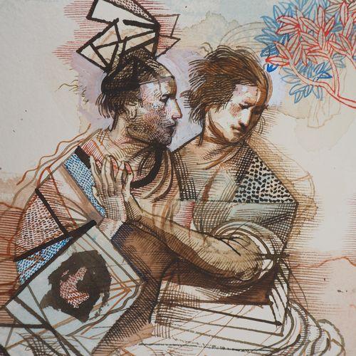 Miguel Condé Miguel CONDÉ  The painter seduces, 1996    Original ink and wash dr…