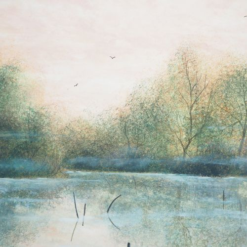 Olivier Mas Olivier MAS  Lake in the mist    Original Gouache  Signed lower righ…