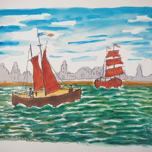 Élisée MACLET Elisée MACLET  Sailing trip    Watercolour on paper  Signed lower …