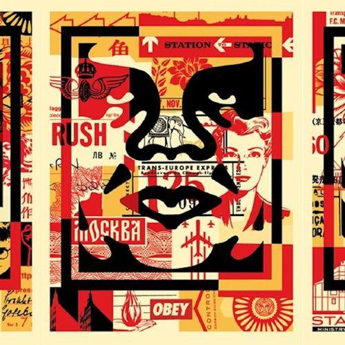 Shepard FAIREY Shepard Fairey (OBEY)     Obey 3 Face Collage     Offset printing…