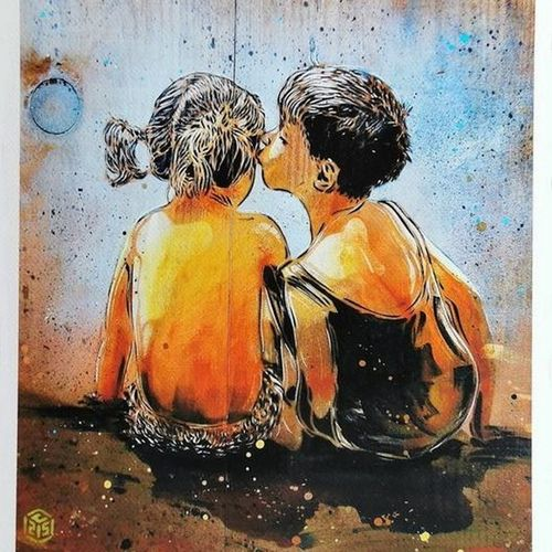 C215 C215  First Kiss, 2020    Digital printing on Canson paper.  Signed by C215…