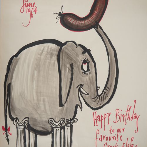 Ronald SEARLE Ronald SEARLE  Greek Elephant, 1964    Original drawing in ink and…