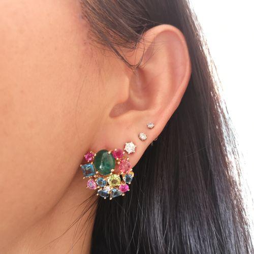 Boucles d'oreilles en or jaune, émeraudes de Colombie et pierres fines Lovely pa…