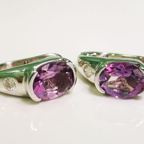 Boucles d'oreilles améthystes et diamants Boucles d'oreilles en or 14 carats (58…