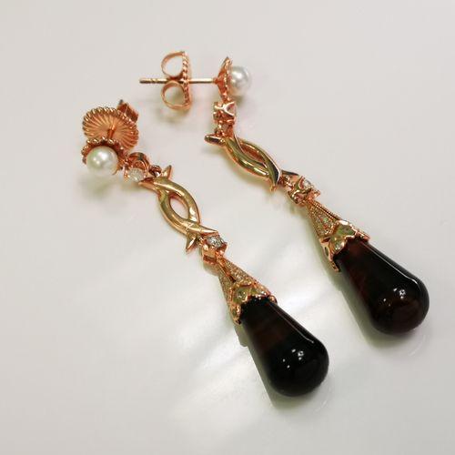 Paire de boucles d 'oreilles perles de culture obsidiennes et diamants Paire de …
