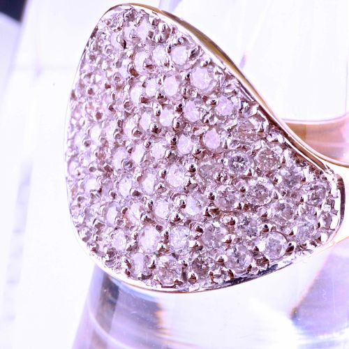 Bague en or jaune Ring in 18 karat yellow gold and paving in natural diamond mes…