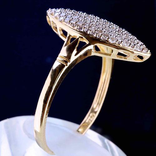 Bague Marquise en or jaune Daisy ring in yellow gold of 18 carat and mesh paving…