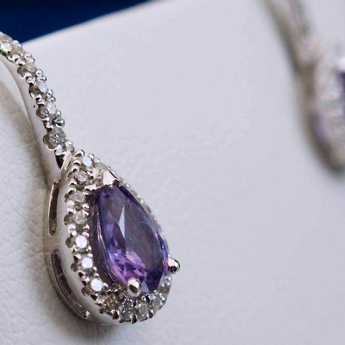 Boucles d'oreilles à clips/Dormeuses en or blanc et tanzanite New earrings in 18…