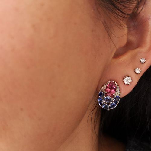 Boucles d'oreilles en or gris, tourmalines roses saphirs diamants Charming pair …