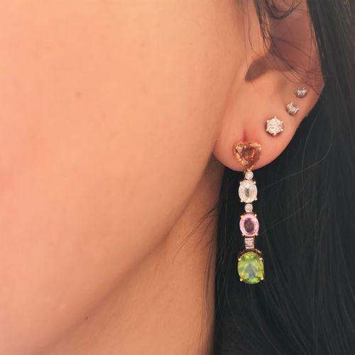 Boucles d'oreilles en or jaune ornées de zircons naturels Pair of 18 karat (750/…