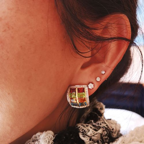 Boucles d'oreilles en or jaune ornées de topazes Rectangular 18 karat (750/1000)…