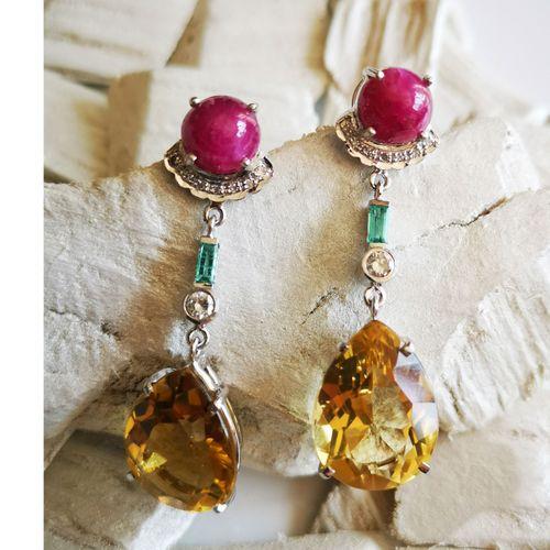 Boucles d'oreilles en or jaune ornées de citrines Pair of earrings in 18 karat y…