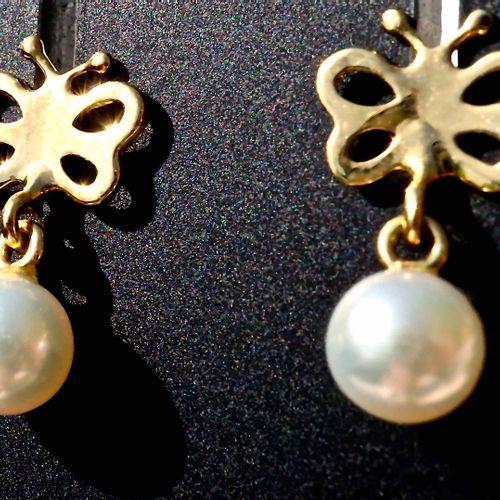Boucles d'oreilles en or jaune et perle d'Akoya 18k yellow gold butterfly earrin…