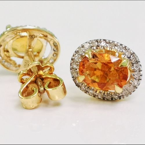 Paire de boucles d'oreilles en or citrines et diamants Paire de boucles d'oreill…