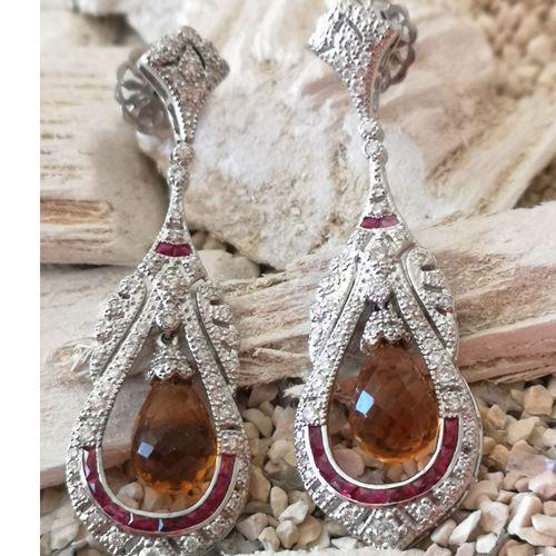 Boucles d'oreilles en or blanc, citrines, rubis et diamants Pair of 18 karat (75…