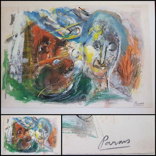 Pierre PARSUS Pierre PARSUS  Jeanne, 1972  Gouache on arches vellum signed in pe…