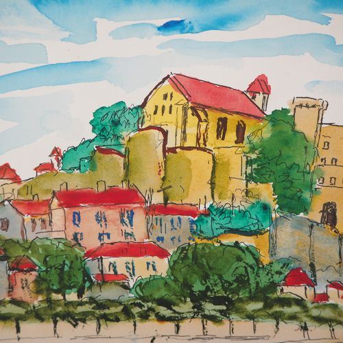 Élisée MACLET Elisée MACLET  The fortified village  Watercolour on paper  Signed…