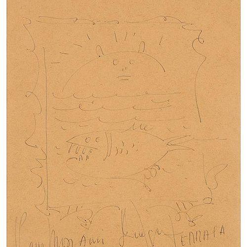 Wifredo LAM Wifredo LAM  Sans titre (tête et poisson) , 1975     Dessin au stylo…