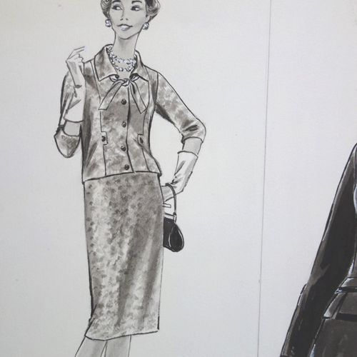 Rosy ANDREASI VERDIER Rosy ANDREASI VERDIER (1934 2015)  Fashion drawing : Open …