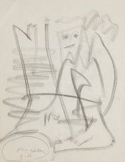 GASTON CHAISSAC Gaston CHAISSAC  Character  Black pencil drawing  Monogrammed an…
