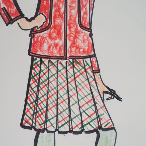 Serge PONS Serge PONS  Scottish Skirt     Original ink and watercolor   Signed b…
