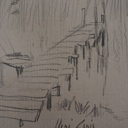 René GENIS René GENIS  The jetty with rushes  Grease pencil drawing on drawing p…