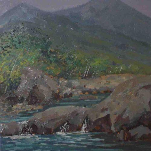 Angiolo Volpe 安吉洛 沃尔佩(1943 ) 利马河 布面油画 利马河和托斯卡纳亚平宁山脉的景色。安吉洛 沃尔佩的这幅布面油画中的马奇亚遗产,有艺术…
