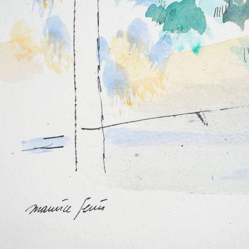 Maurice GENIS Maurice GENIS  Promenade sous les arbres  Aquarelle, gouache et en…
