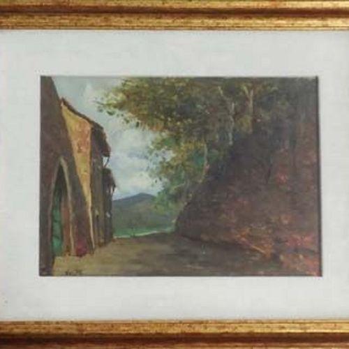 Angiolo Volpe 安吉洛 沃尔佩(1943 ) 狭窄的街道 布面油画 25x35cm    拍品将由我们的承运人负责,他们将以20欧元TTC法国/30…