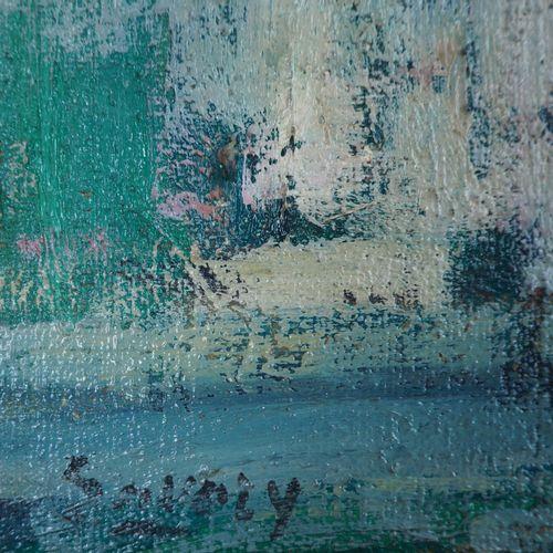 Robert SAVARY 罗伯特 萨瓦里  圣诞精灵  布面油画  左下方有签名  42 x 33 厘米  呈现在镀金木框中 58 x 50 cm  状况良好…