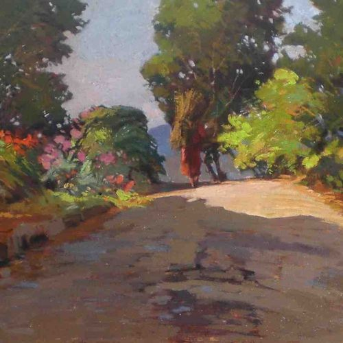 Angiolo Volpe Angiolo Volpe (1943 ) The Street 布面油画 50x70cm 通过对色彩的巧妙运用和典型的Macchi…