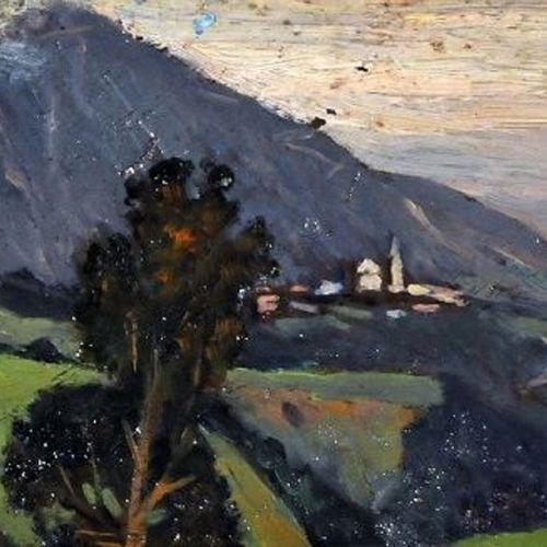 Giovanni Malesci 乔万尼 马莱西风景,油画板,10x23.5厘米,1917年    拍品将由我们的承运人负责,他们将以20欧元TTC法国/30欧…