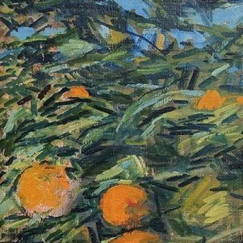 Giovanni Malesci 乔万尼 马莱西 树上的橘子,1967年 布面油画 42x23cm    拍品将由我们的承运人负责,他们将以固定价格20欧元TT…