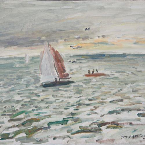 Jean Jacques RENE 让 雅克 雷内 (1943)  帆船在海上  布面油画  左下方有签名  格式 8F : 38 x 46 cm   带框:5…