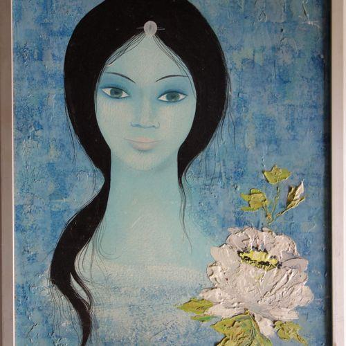 Mara Tran Long Mara TRAN LONG  年轻的女孩与一朵花  纸板上的油彩  右上角有签名  纸板尺寸 48 x 34.5 cm  呈现在…