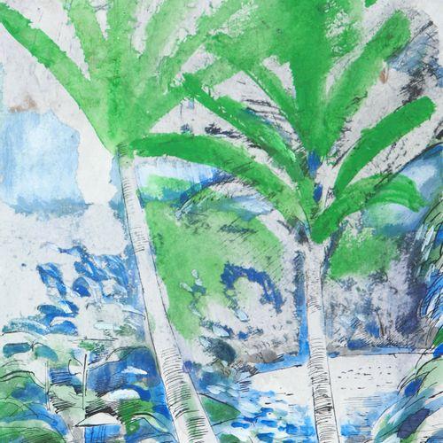 Maurice GENIS Maurice GENIS  Cocotiers impressionnistes  Aquarelle, gouache et e…
