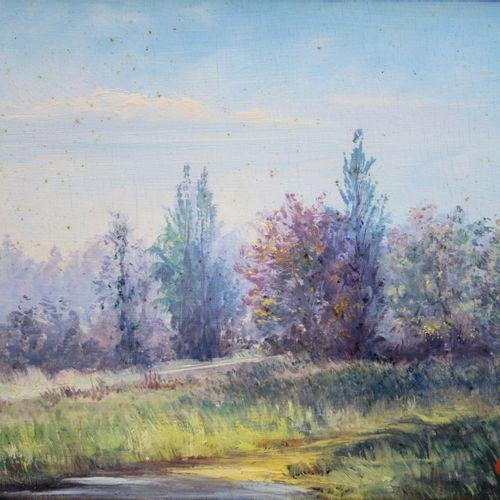 Gaston Coppens 加斯顿 考彭斯(1909 2002)  乡间小路  板上油彩  右下方有签名  画板上 22 x 28 cm 正在观看  呈现在一…