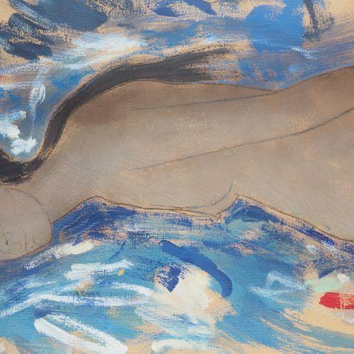 Alain BONNEFOIT Alain Bonnefoit  向高更致敬:Maeva,1998年  纸上油彩装在画布上  右下方有签名和日期  背面有标题 …