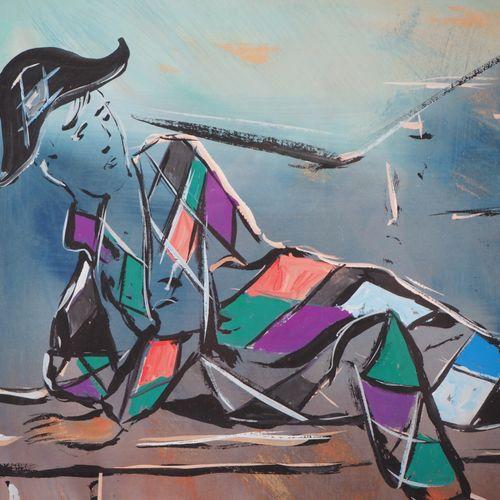 Henri Maurice D'ANTY 亨利 莫里斯 德安蒂(1910 1998)  Harlequin leaning  水粉画原作  左下方有签名  35…