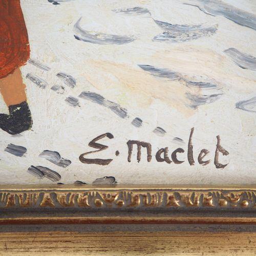 Élisée MACLET 埃利塞 马克莱(1881 1962)  蒙马特,雪下的加莱特广场(Moulin de la Galette)。  伊索尔面板上的油彩…