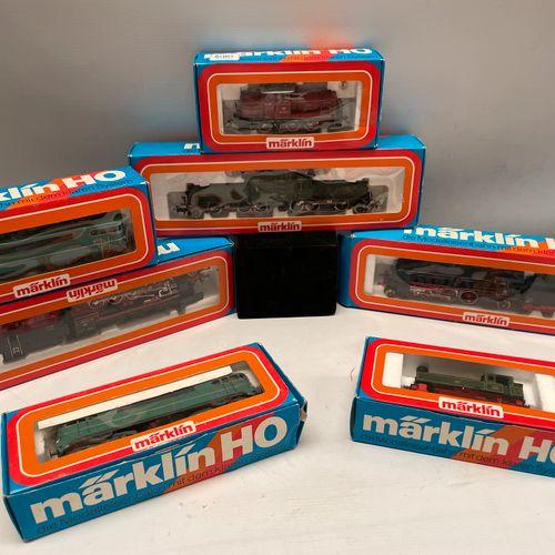 MARKLIN HO locomotives: 7 boites. 3038 (x2) 3056 3065 3084 3087 3093.