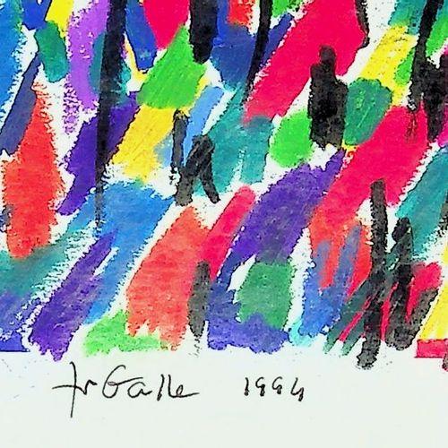 Françoise Galle Françoise GALLE (1940)  Forêt fauve, 1994  Dessin au pastel gras…