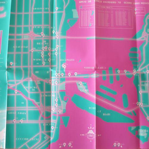 INVADER 侵略者  入侵迈阿密, 2012  迈阿密地图由入侵者绘制。  23.4 x 16.5英寸  58.42厘米 x 40.64厘米  在完美的条件…