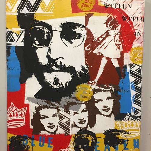 """Tessi Tessi 约翰 列侬  画布上的混合媒体  签名为 """"Tessi""""。  119 x 100 cm    出售后,由于健康危机,不再可能向巴黎、第戎…"""
