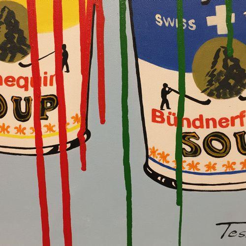 "Tessi 特西 瑞士坎贝尔公司  画布上的混合媒体  署名 ""Tessi"",有画框  67 x 105 cm    出售后,由于健康危机,不再可能向巴黎、第戎…"